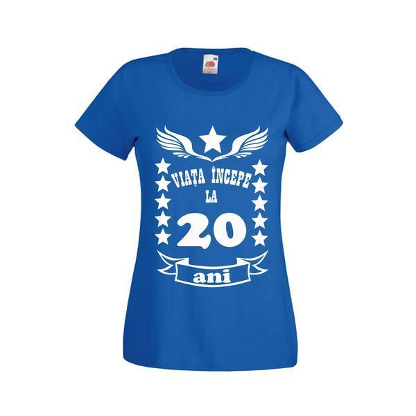 Tricou dama personalizat Fruit of the loom, albastru, Viata incepe la 20 ani S