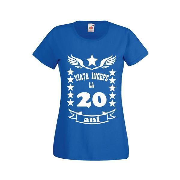 Tricou dama personalizat Fruit of the loom, albastru, Viata incepe la 20 ani XL