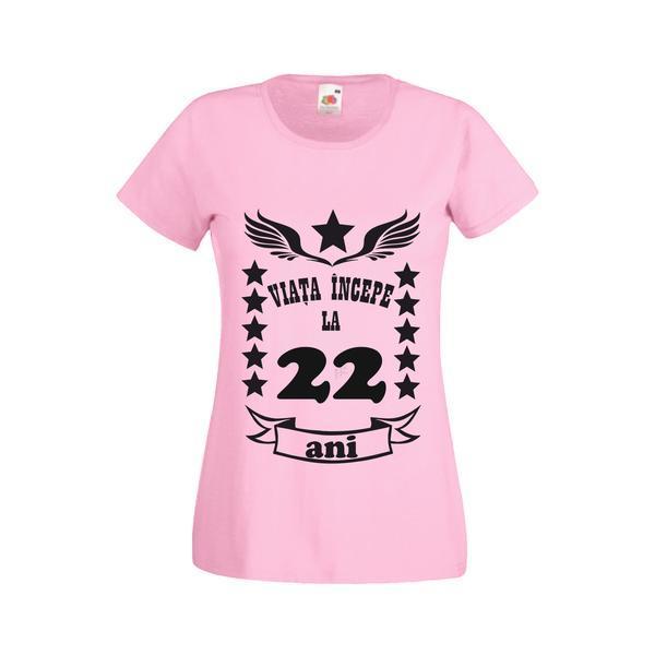 Tricou dama personalizat Fruit of the loom, roz, Viata incepe la 22 ani L