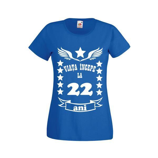 Tricou dama personalizat Fruit of the loom, albastru, Viata incepe la 22 ani S