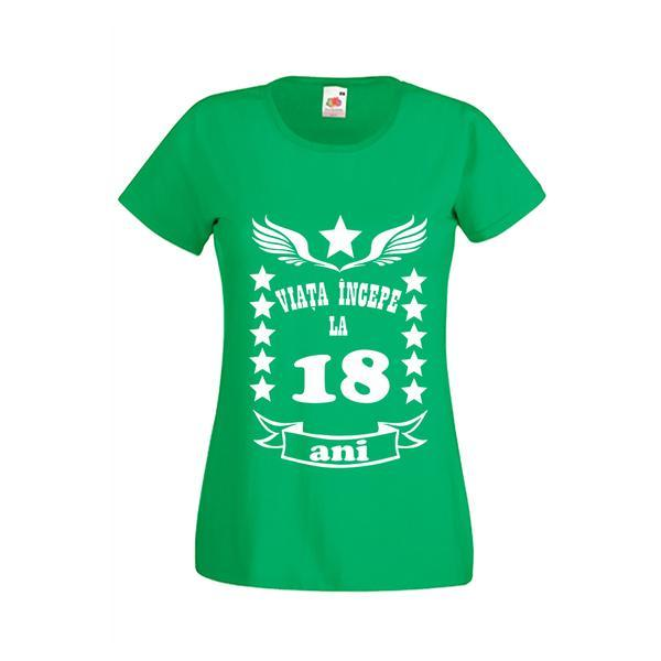 Tricou dama personalizat Fruit of the loom, verde, Viata incepe la 18 ani M