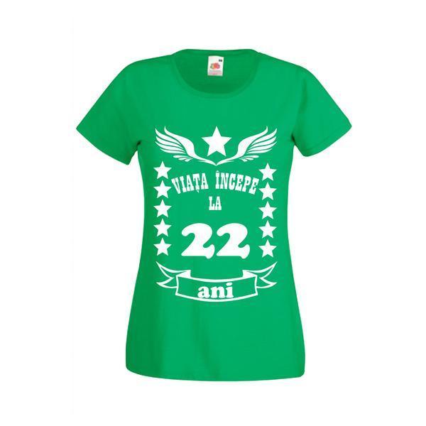 Tricou dama personalizat Fruit of the loom, verde, Viata incepe la 22 ani S