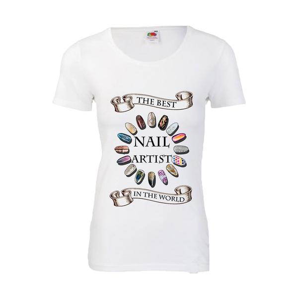 Tricou dama personalizat Fruit of the loom, alb, The best nails artist 2XL