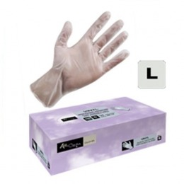Manusi Unica Folosinta Vinil Cosmetica Marimea L - Airclean White Gloves Vinyl Powder Free L