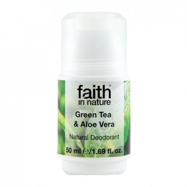 Deodorant Roll On Natural cu Ceai Verde si Aloe Vera Faith in Nature, 50ml poza