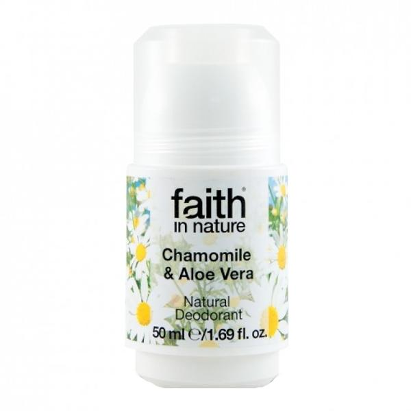 Deodorant Roll On Natural cu Musetel si Aloe Vera Faith in Nature, 50ml imagine produs