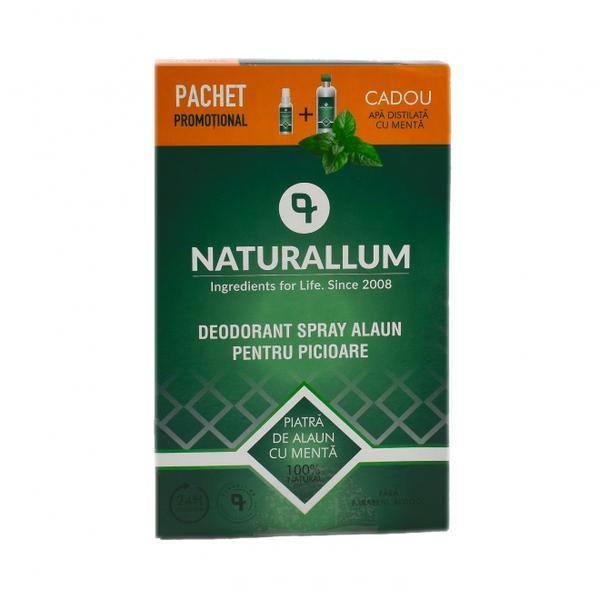 Pachet Alaun Picioare - Deo Spray pentru Picioare 100 ml + Refill Apa Distilata Mentolata 500 ml Naturallum imagine produs