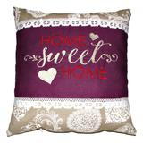 Perna brodata, Home sweet home, design 1, mov-dantela 02, 40x40 cm Happy Gifts