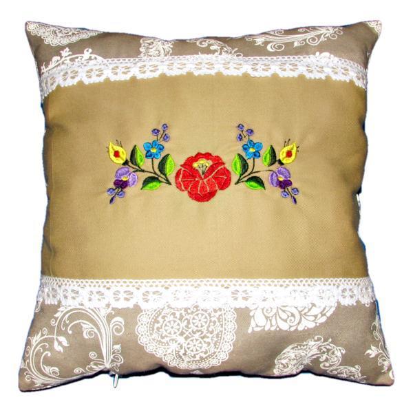 Perna brodata, Kalocsai, design 2, bej-dantela 02, 40×40 cm Happy Gifts