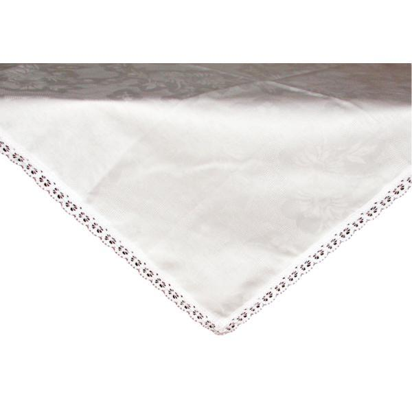 Fata de masa damasc alb cu dantela, 80×80 cm Happy Gifts
