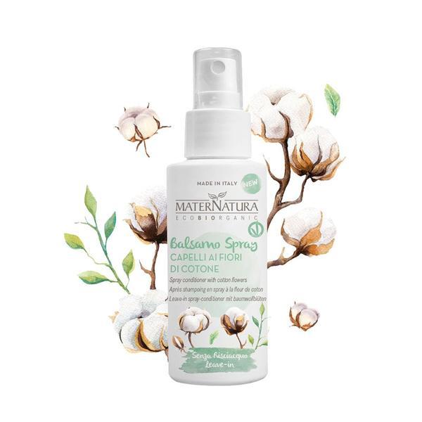 Balsam Leave-in Spray cu Flori de bumbac MaterNatura, 150ml imagine