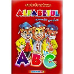 A5 - Alfabetul - Exercitii grafice - Carte de colorat, editura Eurobookids