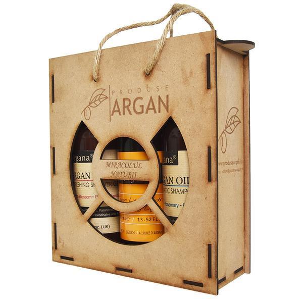 Set cadou rustic argan cutie lemn sampon cu ulei argan 400 ml+sapun lichid cu ulei argan 400 ml+gel de dus cu ulei argan 400 ml esteto.ro