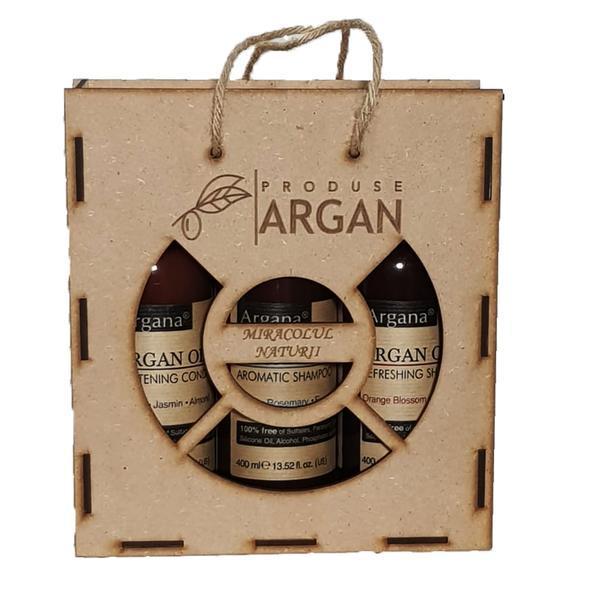 Set cadou rustic argan cutie lemn sampon cu ulei argan 400 ml+balsam par cu ulei argan 400 ml+gel de dus cu ulei argan 400 ml esteto.ro