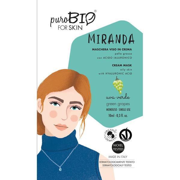 Masca Crema Tratament cu Struguri Verzi pentru Ten Gras Miranda PuroBio Cosmetics, 10ml imagine produs