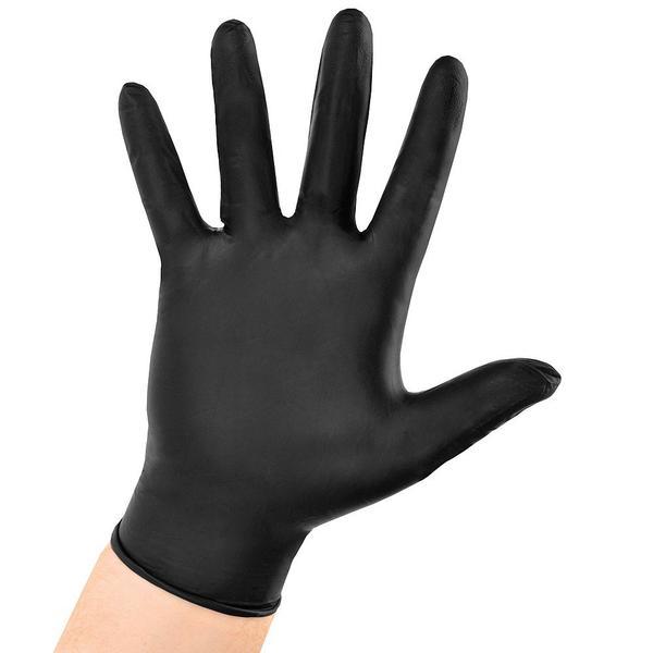 Manusi Nitril Negre Marimea L - GoldGlove Nitril Light Examination Black Gloves Powder Free L, 100 buc imagine produs