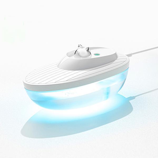 Umidificator de aer Ultrasonic Water, 350ml, lumina ambientala, USB, Alb