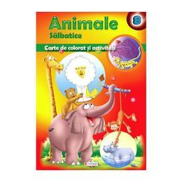Animale salbatice - Carte de colorat si activitati, editura Unicart