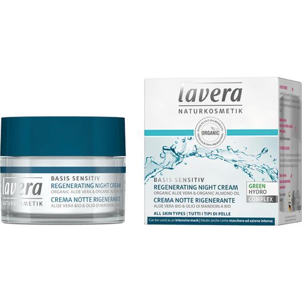 Crema de Noapte Regeneranta cu Aloe Vera si Migdale Basis Sensitiv Lavera, 50ml
