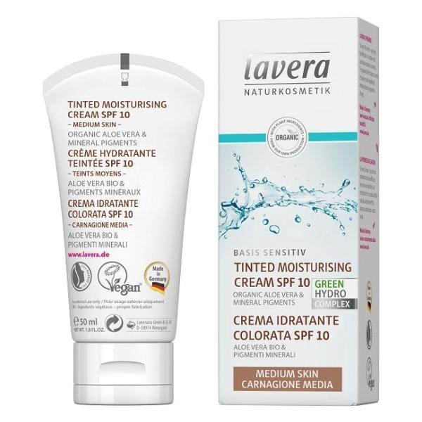 Crema Hidratanta Nuantata cu SPF10 pentru Ten Mediu Basis Sensitiv Lavera, 50ml poza