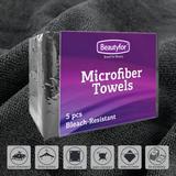 Prosoape din microfibra - negru,  Beautyfor, 5 buc