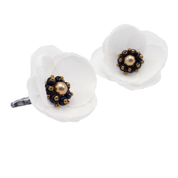 Cercei albi cu design floral, Hope, Zia Fashion