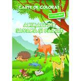 Animale din savana si padure - Carte de colorat cu abtibilduri, editura Ars Libri