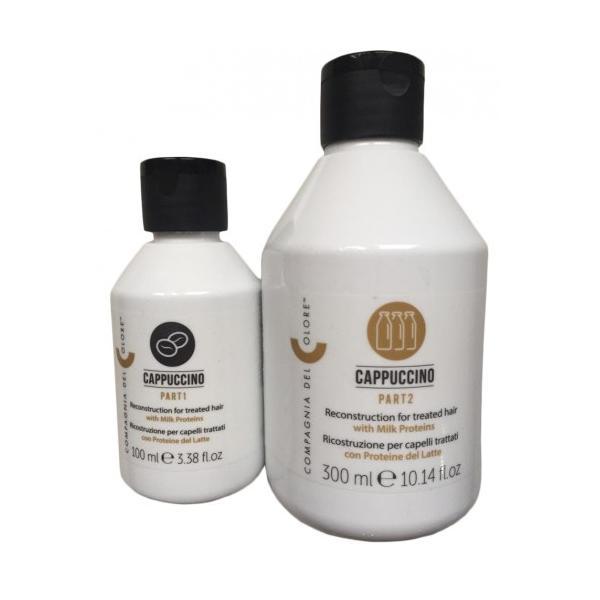 Kit Tratament Capuccino Reconstruction Compagnia del Colore: pas 1 Coffe 100 ml, pas 2 milk 300 ml imagine produs