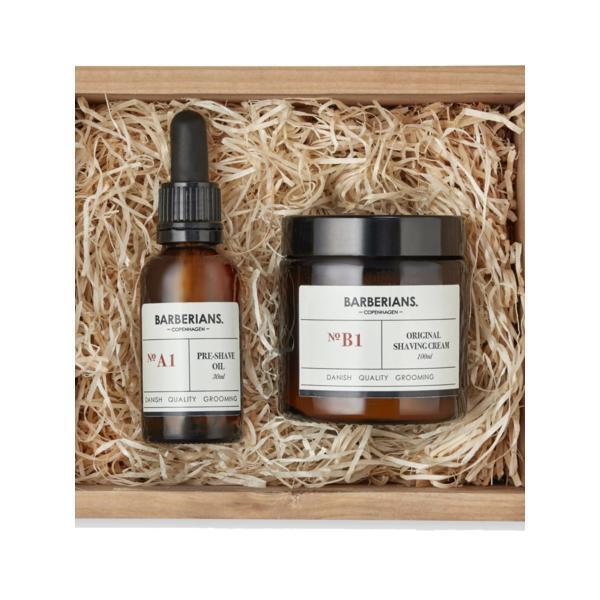 Set cadou ulei(pre-shave) si crema de ras pentru barbierit, Barberians (ulei 30ml + crema ras 100ml )