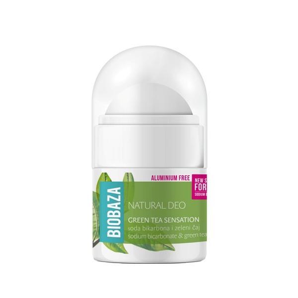 Mini Deodorant Natural pentru Femei GREEN TEA SENSATION cu Ceai Verde si Bicarbonat Biobaza, 20ml