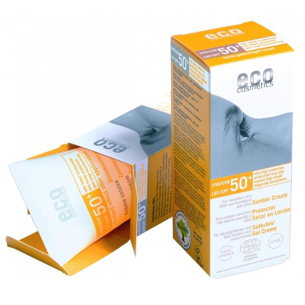 Crema Bio pentru Protectie Solara Inalta SPF 50 Nuantata Eco Cosmetics, 75ml