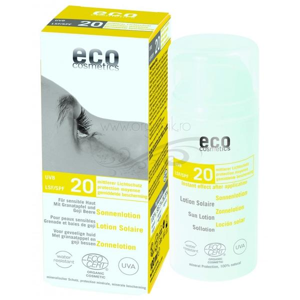 Lotiune Fluida de Protectie Solara SPF 20 cu Goji si Rodie Eco Cosmetics, 100ml poza