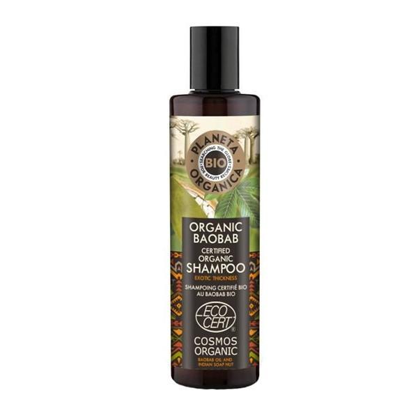 Sampon Organic pentru Volum cu Ulei de Baobab si Nuci Indiene Planeta Organica, 280ml imagine