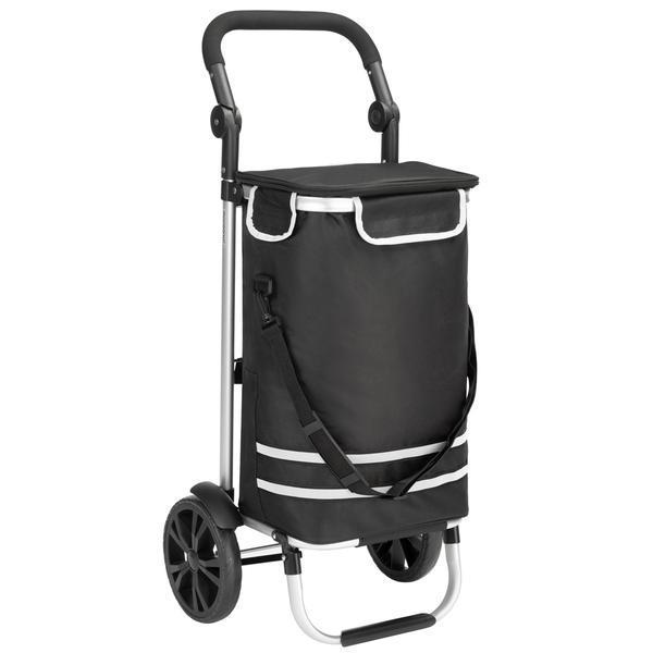 Carucior de cumparaturi, Compartiment geanta frigorifica, Pliabil, Aluminiu+negru, 35L