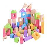 Set piese constructie din spuma, Multicolor + lemn, 100 de piese XL