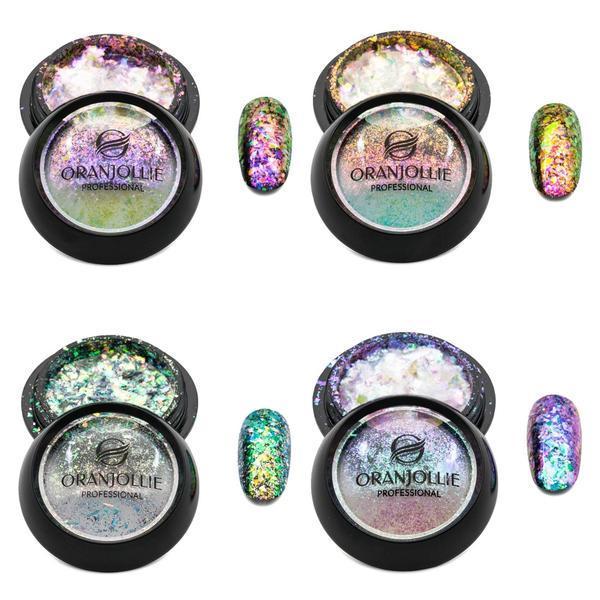 Set 4 pigmenti unghii fulgi de gheata Cameleon, aplicatoare incluse
