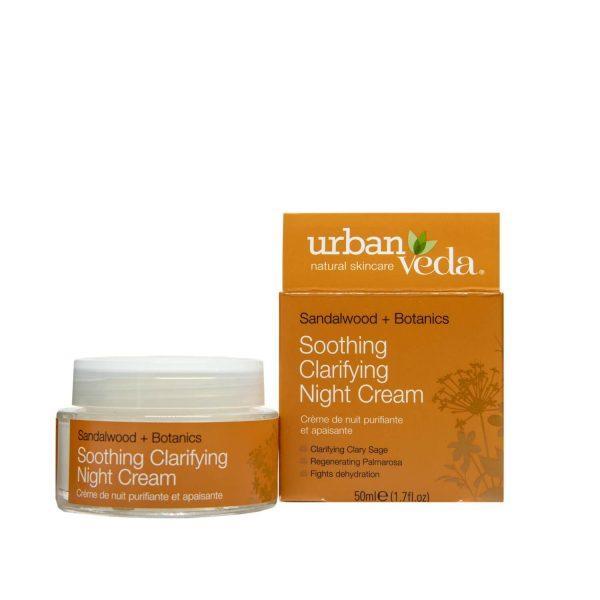 Crema de Noapte Hidratanta cu Extract de Lemn de Santal Organic pentru Ten Sensibil Soothing - Urban Veda, 50 ml