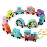 Trenulet din lemn cu animale - Drag a small train - Muqiy Toys