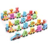 Trenulet din lemn cu literele alfabetului-Cartoon Alphabet Car