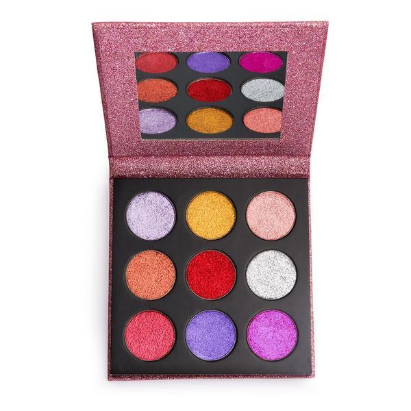 Paleta glitter de pleoape, Makeup Revolution, Pressed Glitter Palette, Diva, 9 nuante poza