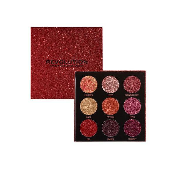 Paleta glitter de pleoape, Makeup Revolution, Pressed Glitter Palette, Hot Pursuit, 9 nuante poza
