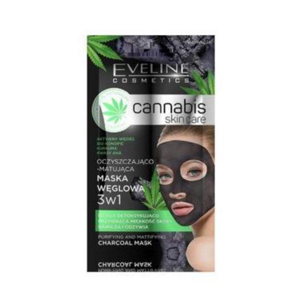 Mască de față, Eveline Cosmetics, Cannabis skin care, cu carbune, 7 ml esteto.ro