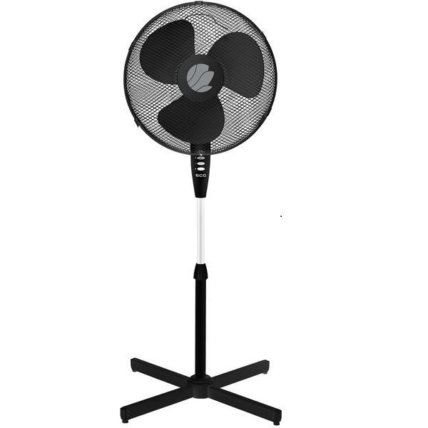 Ventilator cu picior ECG FS 40A negru, 50W, 40cm, 3 viteze, silentios