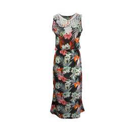 rochie-lunga-negru-imprimeu-multicolor-flori-elastic-la-talie-s-m-1.jpg