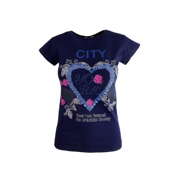 Tricou dama, Univers Fashion, albastru, imprimeu inima cu trandafiri, marime S-M