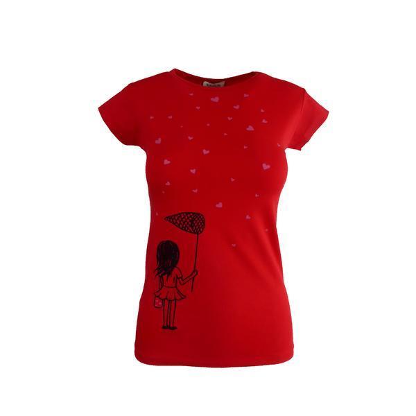 Tricou dama, Univers Fashion, rosu, imprimeu cu fetita si inimioare, S-M