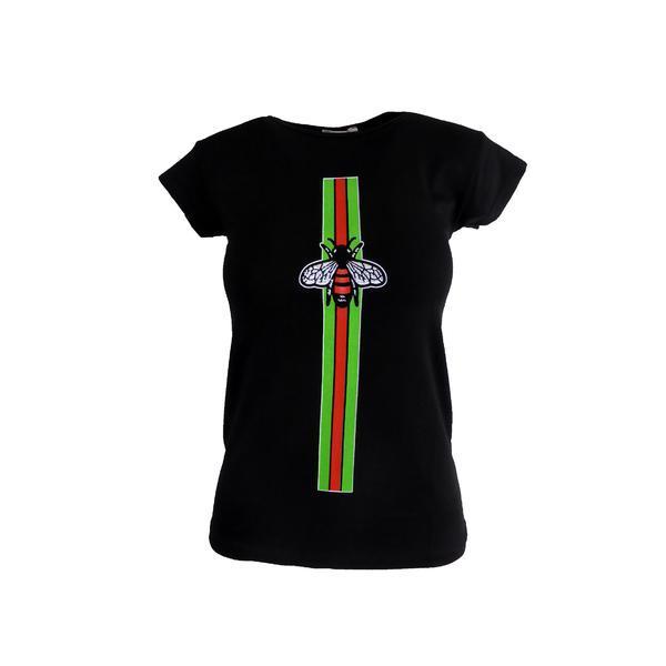 Tricou dama, Univers Fashion, negru, imprimeu albina cu stras, S-M