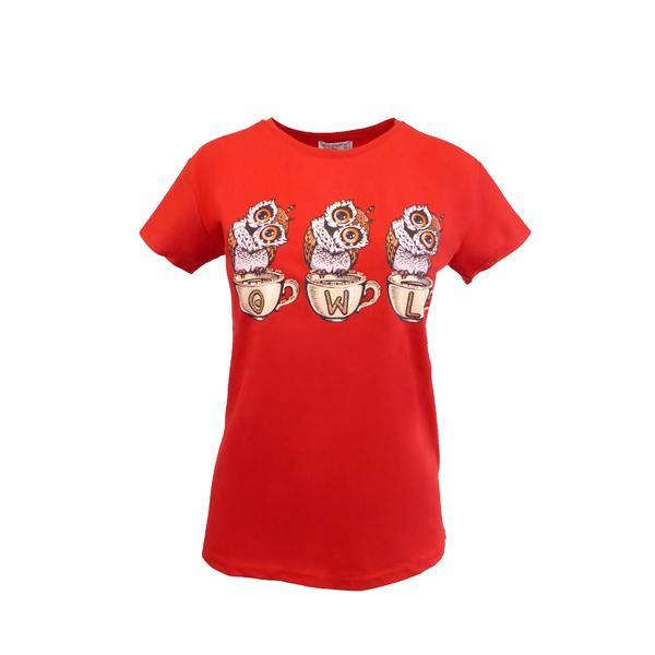 Tricou dama, Univers Fashion, rosu, imprimeu 3 bufnite cu stras, S