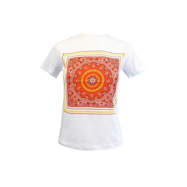 Tricou dama, Univers Fashion, alb, imprimeu etnic multicolor, L