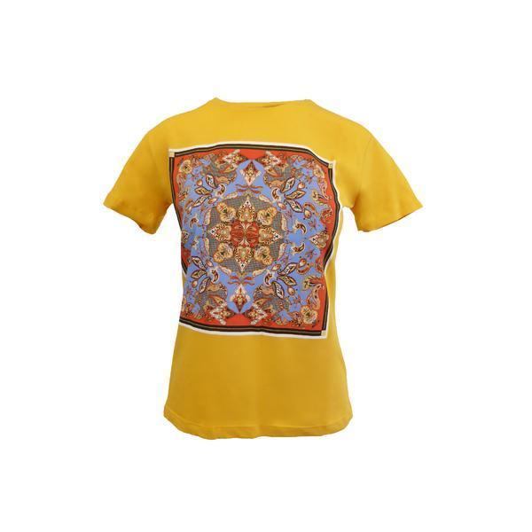 Tricou dama, Univers Fashion, galben mustar, imprimeu etnic multicolor, S